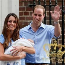 """Herzogin Catherine und Prinz William mit ihrem Sohn vor dem """"St. Mary's Hospital"""" am 23. Juli 2013."""