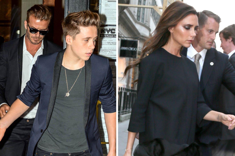 David Beckham, Brooklyn Beckham und Victoria Beckham vor ihrem Flaghsipstore in London.