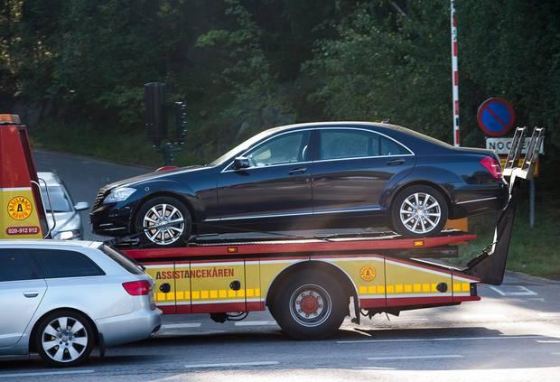 Mit diesem Wagen crashte Carl Gustafs Mercedes zusammen.
