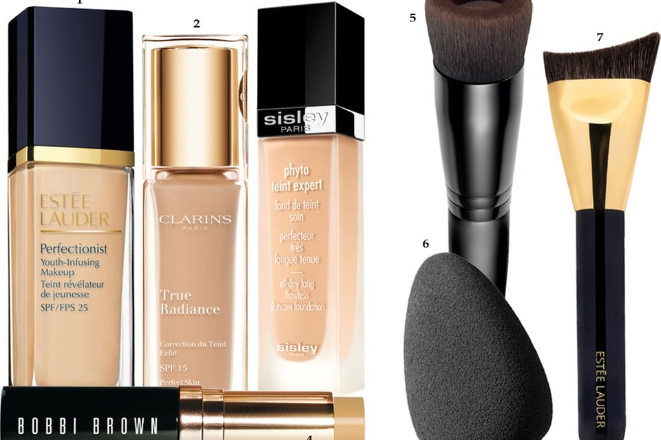 """1 """"Perfectionist Youth- Infusing Makeup SPF 25"""" von Estée Lauder, 30 ml, ca. 55 Euro 2 """"True Radiance"""" von Clarins, 30 ml, ca. 35 Euro 3 """"Phyto Teint Expert"""" von Sisley, 30 ml, ca. 97 Euro 4 """"Skin Foundation Stick"""" von Bobbi Brown, 9 g, ca. 43 Euro 5 Durch die Aussparung in der Mitte nimmt der """"Perfecting Face Brush"""" von Bareminerals weniger Make-up auf. Ca. 26 Euro 6 Weich abrollen: Der eiförmige """"Backstage Sponge Fluid Foundation"""" von Dior perfektioniert das Modellieren. Ca. 17 Euro 7 Die abgeschrägte Form des """"Sculpting Foundation Brush"""" von Estée Lauder passt sich der Gesichtsform an. Ca. 40 Euro"""