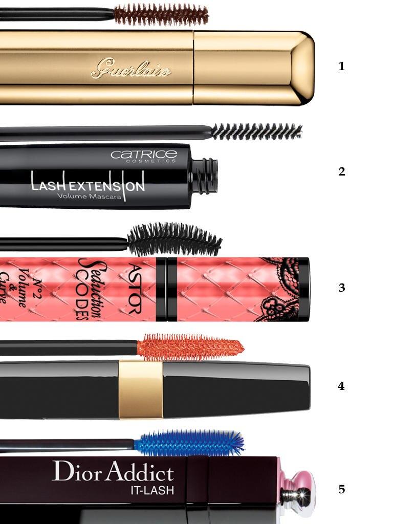 """1 """"Cils d'Enfer – 03 Moka"""" von Guerlain, ca. 32 Euro; 2. """"Lash Extension Volume – Black"""" von Catrice, ca. 4 Euro; 3. """"Seduction Codes No. 2 Volume & Curve – Schwarz"""" von Astor, ca. 7 Euro; 4. """"Addict It-Lash – It-Blue"""" von Dior, ca. 32 Euro; 5. """"Inimitable Waterproof - Orange Touch"""" von Chanel, ca. 31 Euro"""