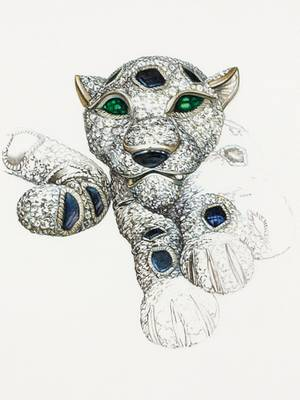 Detailverliebte Skizze von einem Panther.