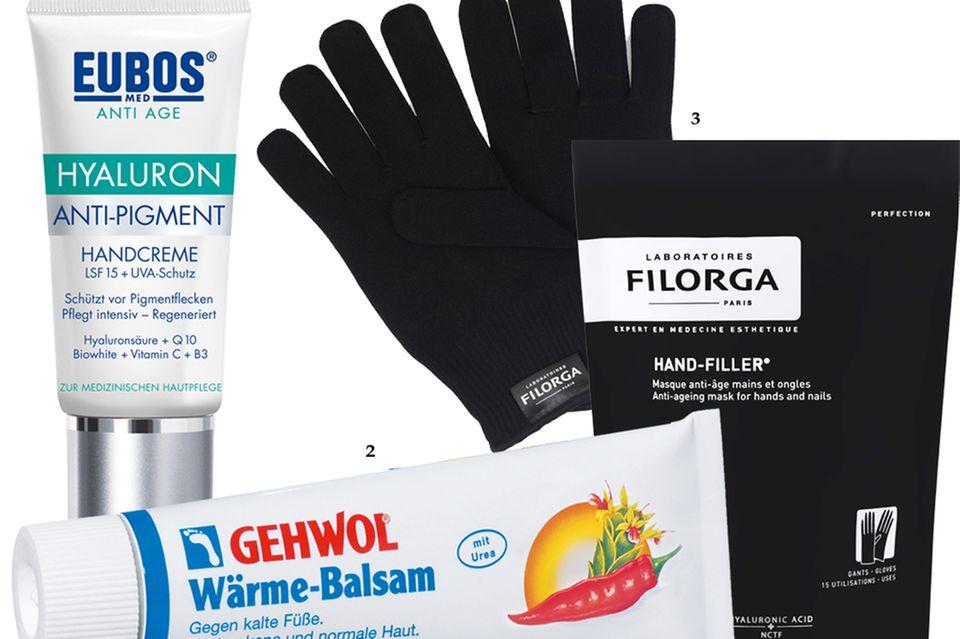 """1. """"Anti Age Hyaluron Anti-Pigment""""-Handcreme von Eubos, 50 ml, ca. 13 Euro; 2. """"Wärme-Balsam"""" gegen kalte Füße, von Gehwol,75 ml, ca. 6 Euro; 3. """"Hand-Filler""""-Set von Filorga mit Handmaske und Handschuhen, ca. 48 Euro"""