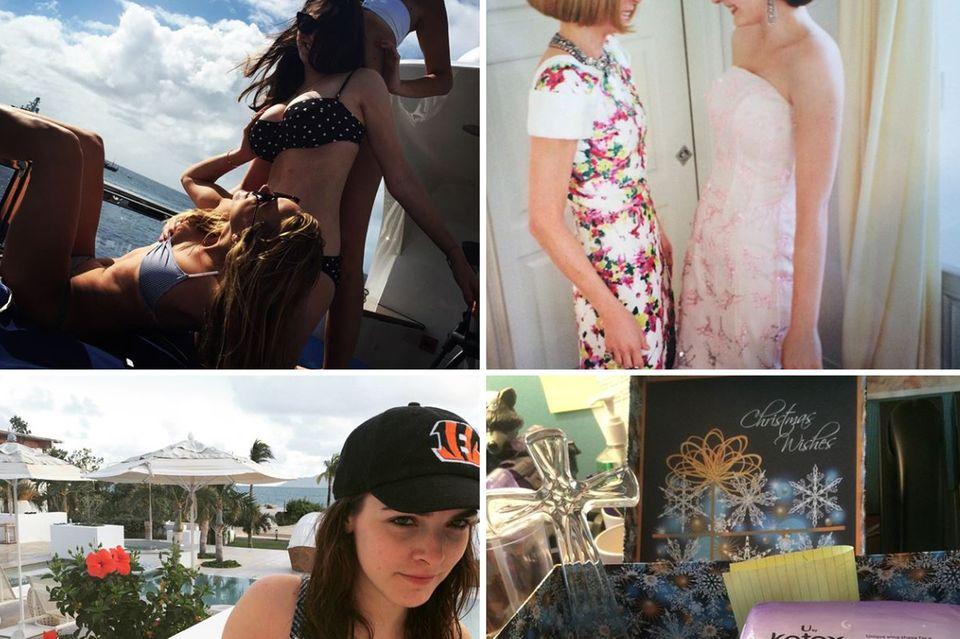 Anna Wintours Tochter Bee Shaffer hat einen kernigen Humor und postet lebenslustige Bilder im knappen Bikini mit Freundinnen sowie auch Jokes ihrer Kollegen in Los Angeles, als sie ihr Mittel gegen Reiseprobleme zuschickten.