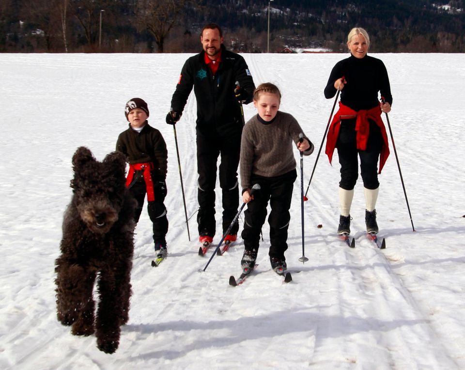 Die norwegische Kronprinzenfamilie muss nicht weit reisen, um tolle Pisten zu finden. 2012 nutzen sie den Schnee unweit ihres Wohnortes in Asker für einen Ausflug auf Langlauf-Skiern. Mit dabei: Hund Milly Kakao.