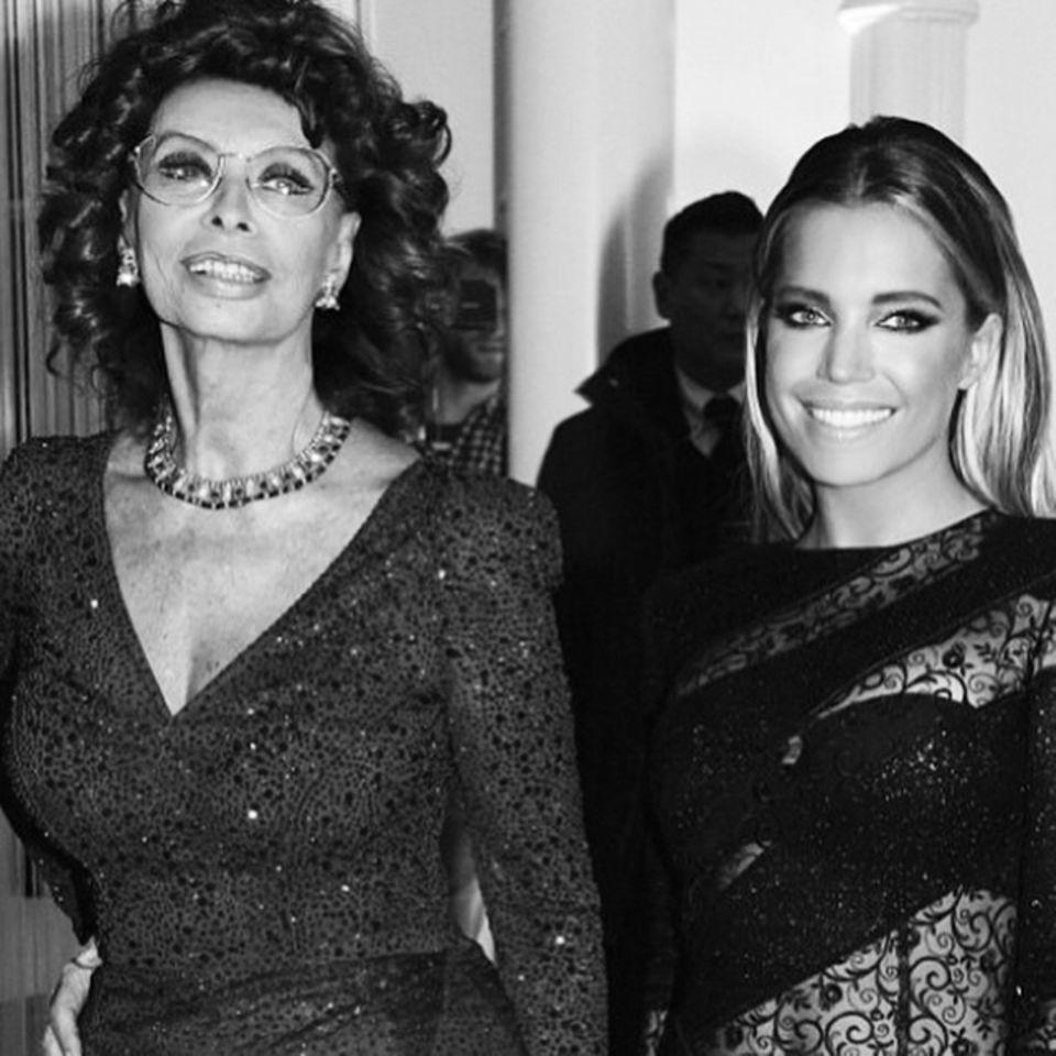 """Sophia Loren und Sylvie Meis bei der """"De Rucci""""- Grand Opening Party in Köln."""