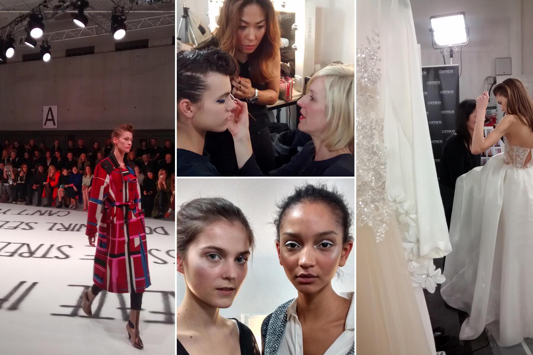 Visagistin Loni Baur kreiert den Make-up-Look mit Produkten von Catrice für die Schauen von Capara (links im Bild) und Kaviar Gauche (rechts im Bild) im Palazzo Italia während der Mercedes-Benz Fashion Week in Berlin.