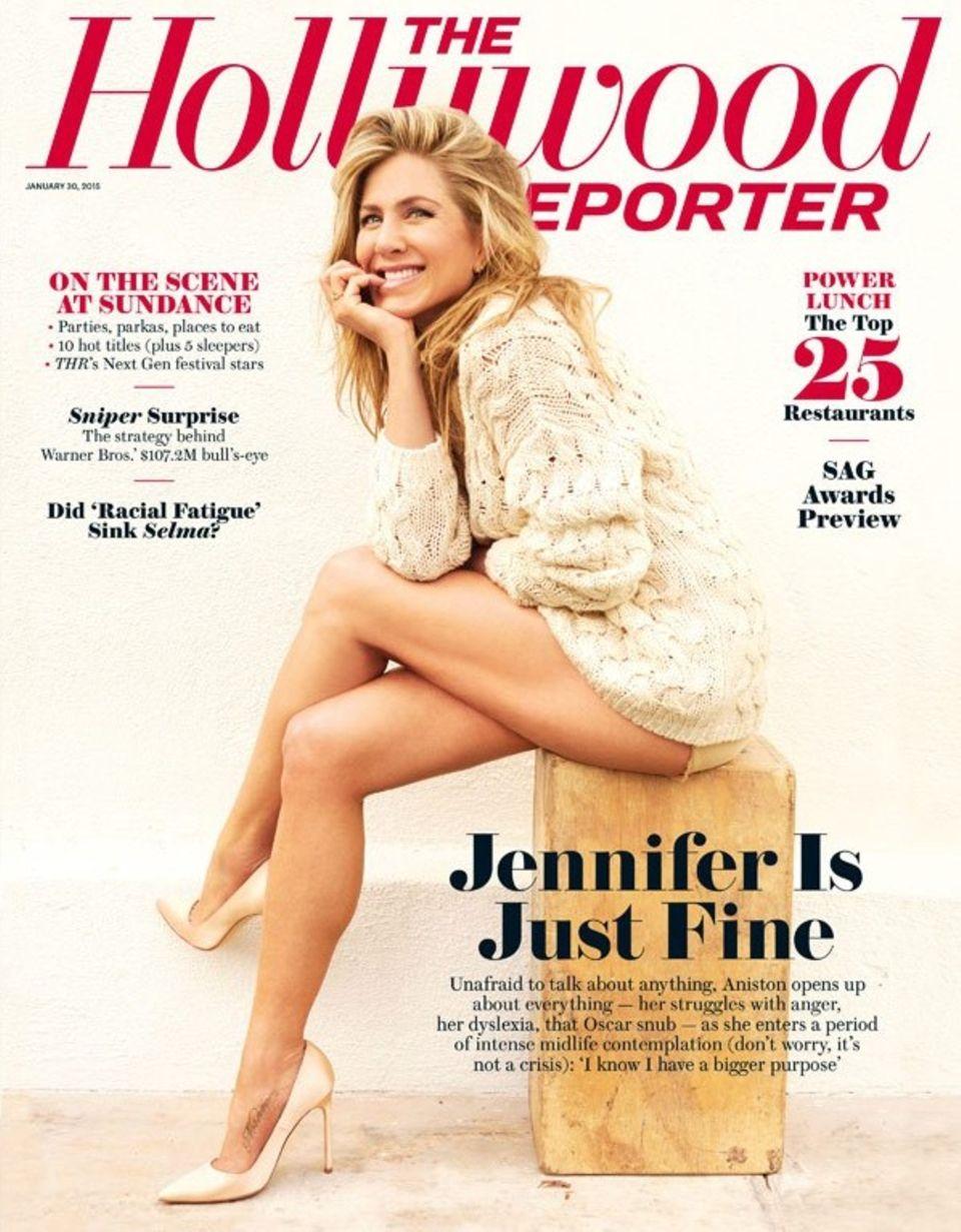 """Das Cover des """"The Hollywood Reporter"""" mit Jennifer Aniston auf dem Titel."""