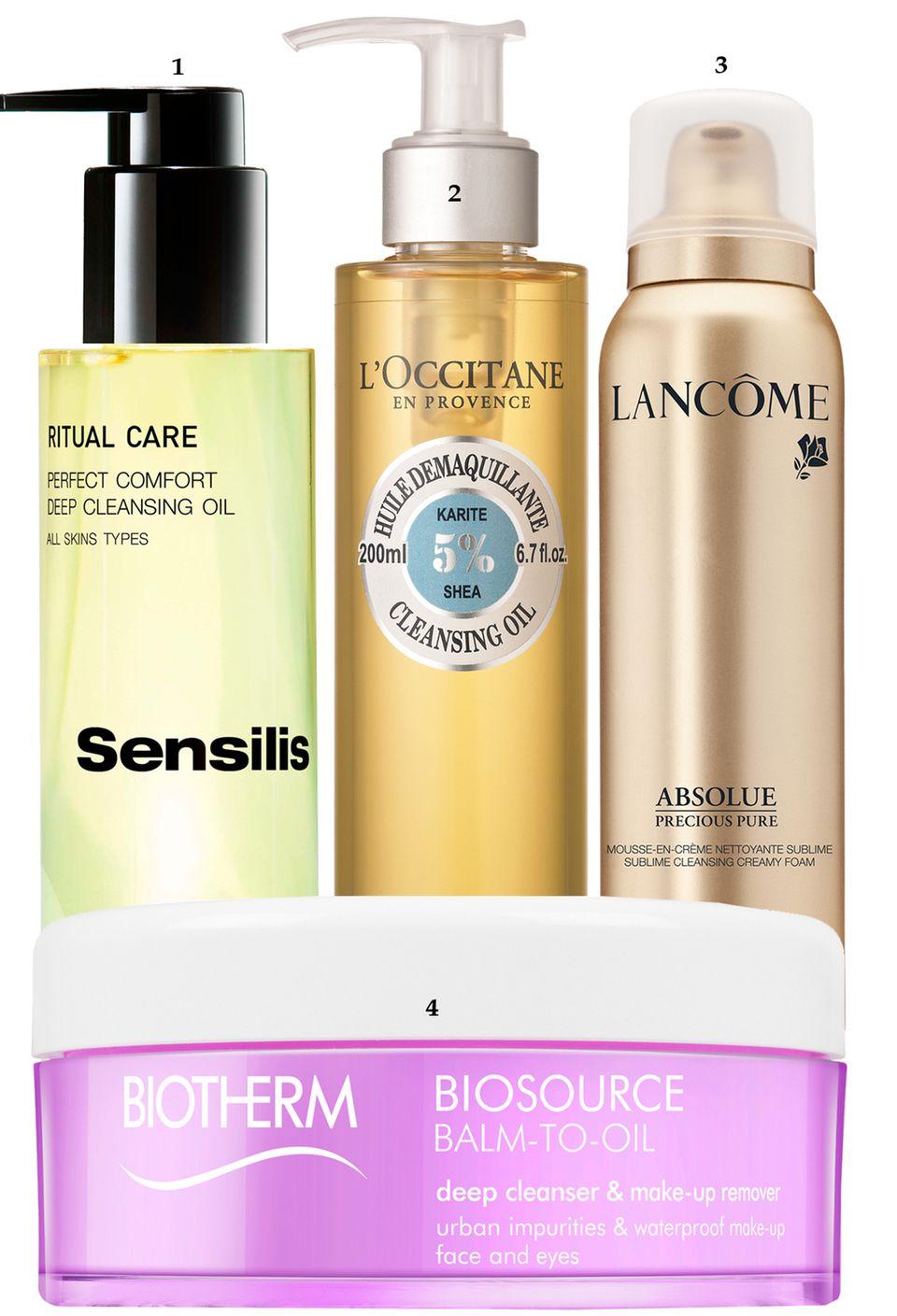 "1. ""Ritual Care Perfect Comfort Deep Cleansing Oil"" von Sensilis, 150 ml, ca. 20 Euro; 2. ""Huile Démaquillante"" von L'Occitane, 200 ml, ca. 20 Euro; 3. ""Absolue Precious Pure"" von Lancôme, 150 ml, ca. 80 Euro; 4. ""Biosource Balm-to-Oil"" von Biotherm, 100 ml, ca. 30 Euro"
