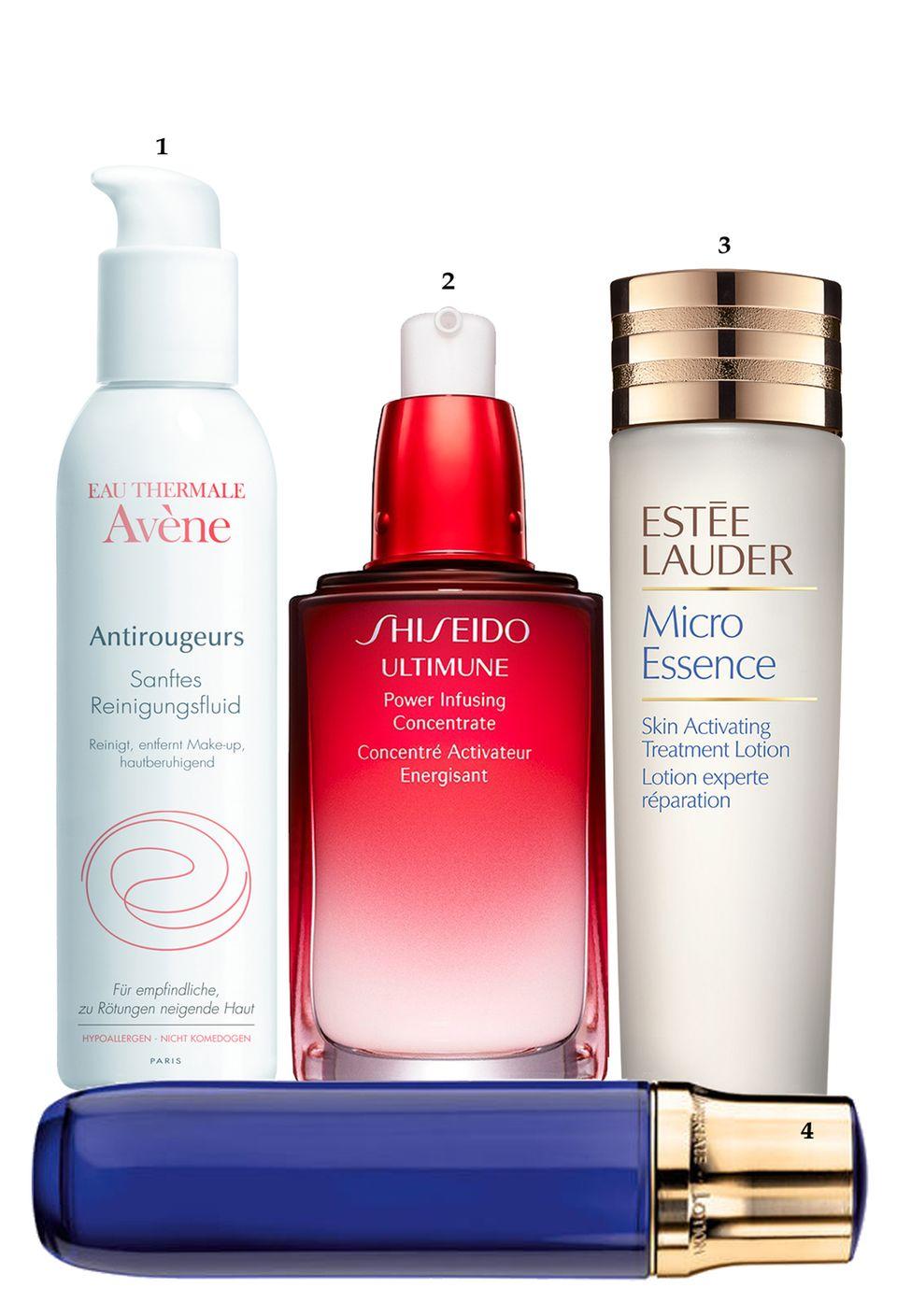"1. ""Antirougeurs Reinigungsfluid"" von Avène, 300 ml, ca. 20 Euro; 2. ""Ultimune Power Infusing Concentrate"" von Shiseido, 30 ml, ca. 80 Euro; 3. ""Micro Essence Skin Activating Treatment Lotion""  von Estée Lauder, 150 ml, ca. 85 Euro; 4. ""Orchidée Impériale Lotion"" von Guerlain, 125 ml, ca. 110 Euro"