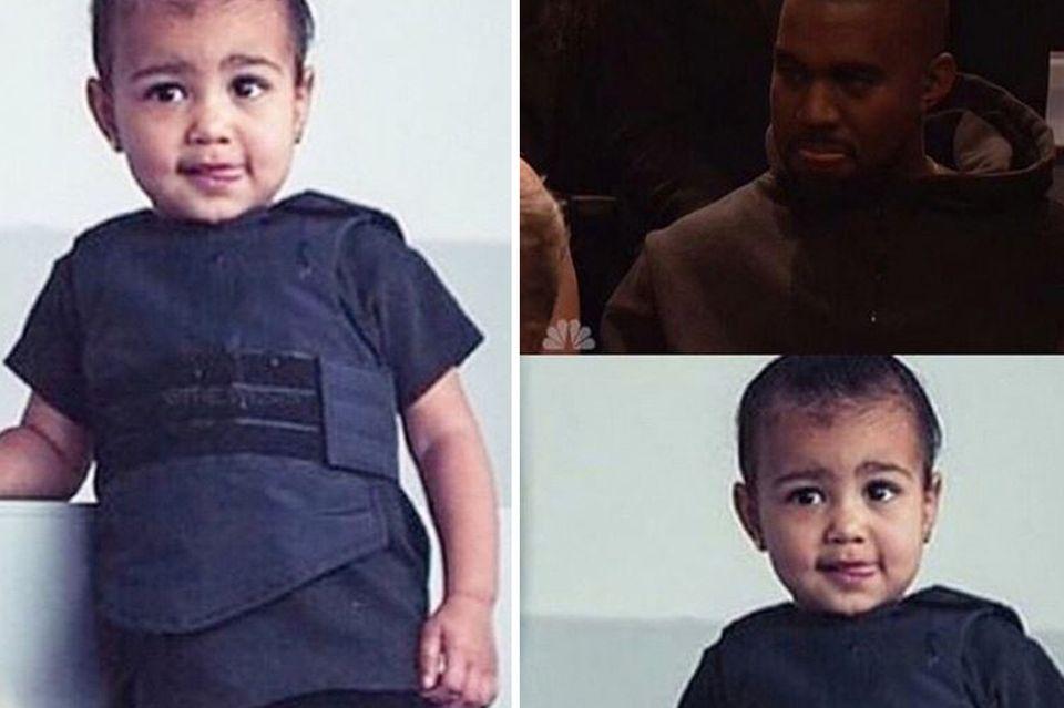 """Seine kleine Tochter North West wurde anlässlich der Adidas-Show für die Front Row in ein Kollektionsstück gekleidet, eine kugelsichere Weste, wie jetzt bekannt wurde. Ihre Mutter Kim Kardashian sieht in ihrer Tochter und ihrem Ehemann Kanye West """"Twins"""" (auf Deutsch: Zwillinge), wie sie jetzt auf ihrem Instagram-Account postete."""