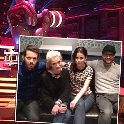 """Die """"The Voice Kids""""-Coaches Johannes Strate, Lena Meyer-Landrut und Mark Forster"""