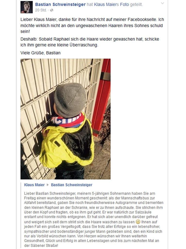 Auf Facebook antwortet Bastian Schweinsteiger dem Vater von Raphael.