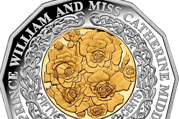 """In Australien kam 2011 diese Münze der """"Royal Australian Mint"""" heraus, die an die Hochzeit von Prinz William und Herzogin Catherine erinnern soll."""