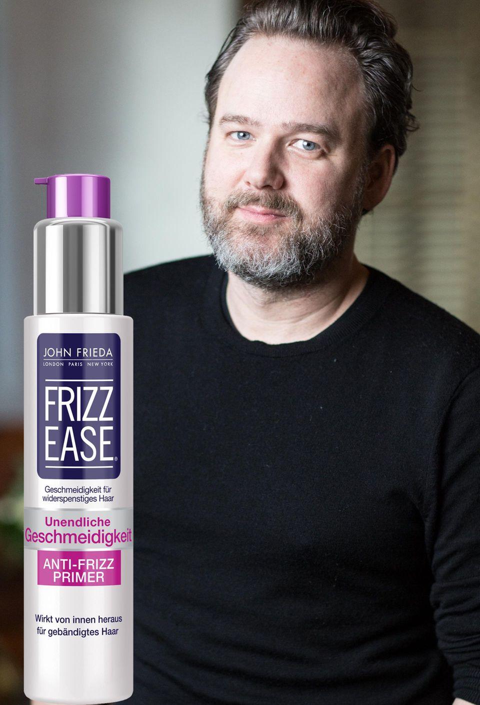 """Der Experte Andreas Wild, Senior Stylist bei John Frieda, erklärt, warum Haar-Primer wichtig sind. """"Frizz Ease Anti-Frizz Primer"""" von John Frieda, 100 ml, ca. 12 Euro"""