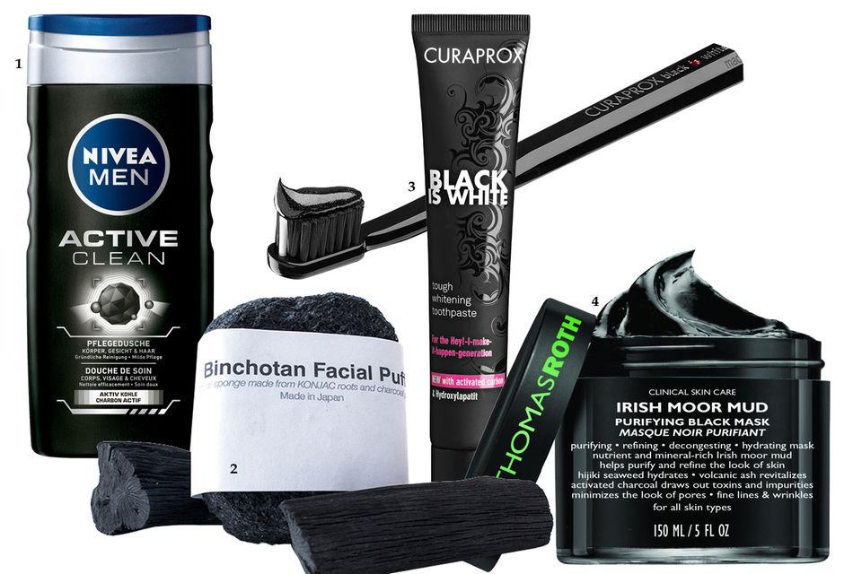 """1. """"Active Clean Dusche"""" von Nivea Men, 250 ml ca. 2 Euro; 2. Konjac-Schwamm mit Aktivkohlepuder """"Binchotan Facial Puff"""" von Morihata, ca. 20 Euro, über www.niche-beauty.com; 3. Schwarze Whitening-Zahnpasta """"Black Is White"""" von Curaprox, ca. 25 Euro, in Apotheken erhältlich; 4. """"Irish Moor Mud""""-Gesichtsmaske von Peter Thomas Roth, 150 ml, ca. 75 Euro"""