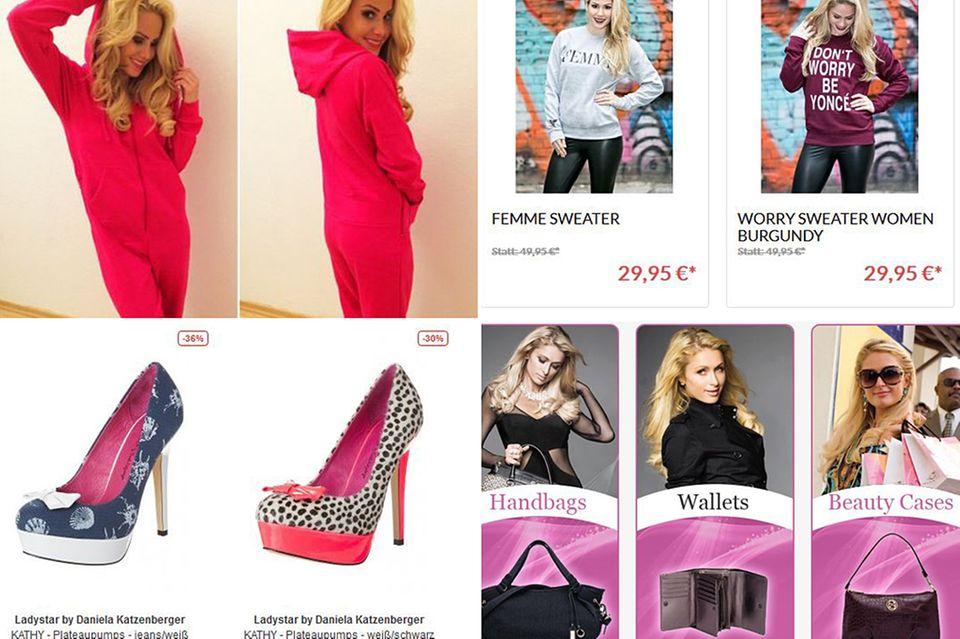 Von Professionalität und Erfolg sind diese Damen noch weit entfernt: Angelina Heger scheint im heimischen Flur für Produktbilder zu posieren, Paris Hilton lebt in einer pinken Glitzerwelt und Daniela Katzenbergers Schuhe gehen zum vollen Preis einfach nicht weg.