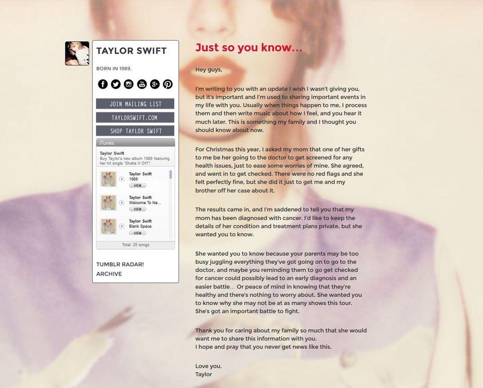 Die Neuigkeiten verkündet Taylor traurig auf Tumblr.