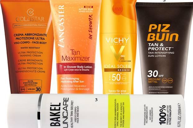 """1. """"Ultra Protecting Tanning Cream SPF 30"""" von Collistar, 150 ml ca. 30 Euro; 2. """"Tan Maximizer After Sun Dusch-Bodylotion"""" von Lancaster, 150 ml, ca. 30 Euro; 3. """"Healthy Tan Secret"""" von Bakel, 200 ml, ca. 64 Euro; 4. """"Idéal Soleil Bronze LSF 50+""""-Milchspray von Vichy, 200 ml, ca. 23 Euro; 5. """"Tan & Protect Lotion SPF 30"""" von Piz Buin, 150 ml, ca. 9 Euro"""