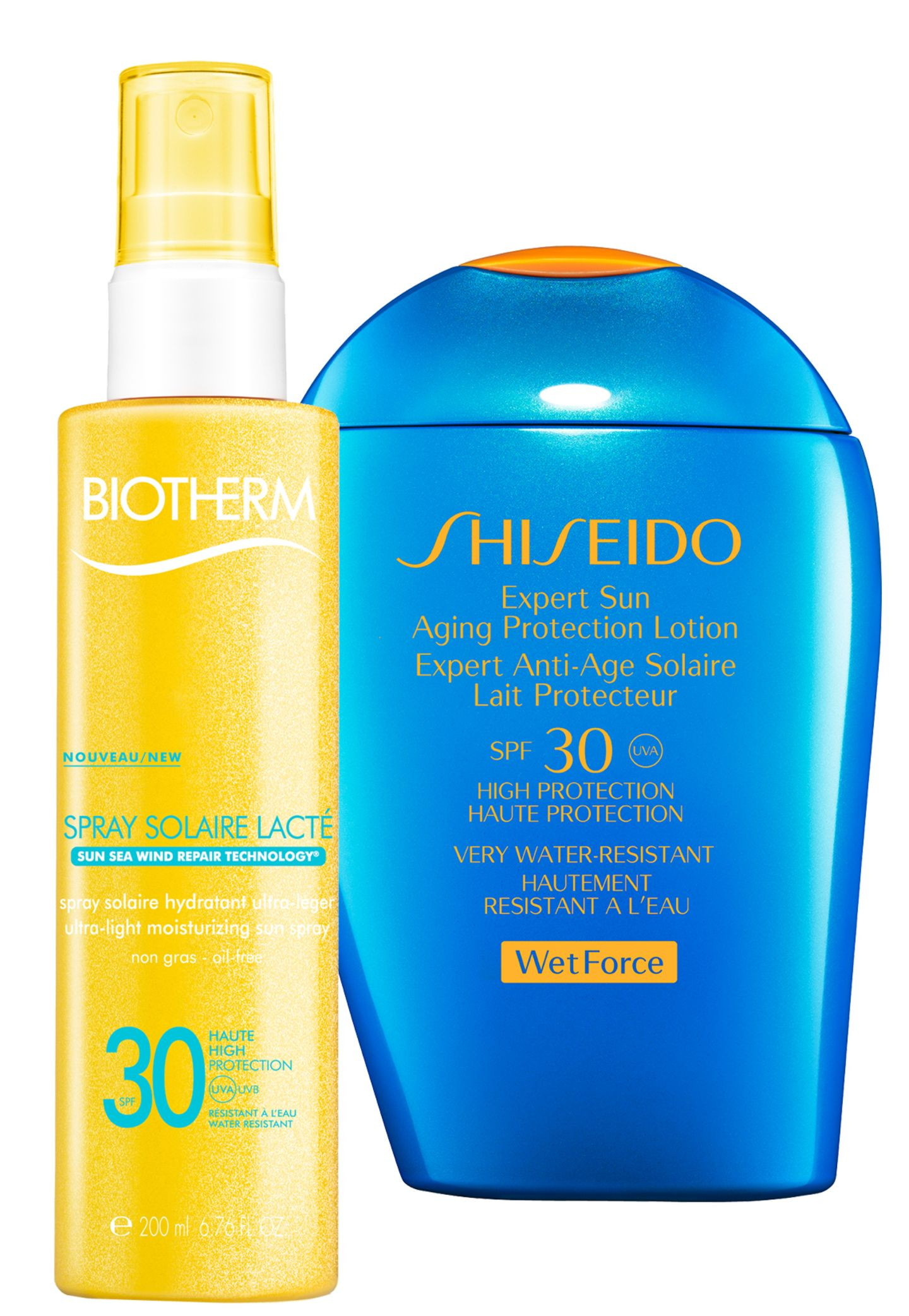 "Links:  ""Spray Solaire Lacté LSF 15"" von Biotherm, 200 ml, ca. 26 Euro; Rechts: ""Expert Sun Aging Protection Lotion SPF 30"" von Shiseido, 100 ml, ca. 31 Euro"