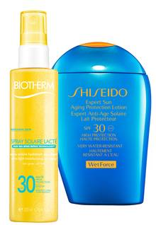 "Links:  ""Spray Solaire Lacté LSF 15"" von Biotherm, 200 ml, ca. 26 Euro; Rechts: ""Expert Sun Aging Protection Lotion SPF 30"" von Shiseido, 100 ml, ca. 31 Euro"