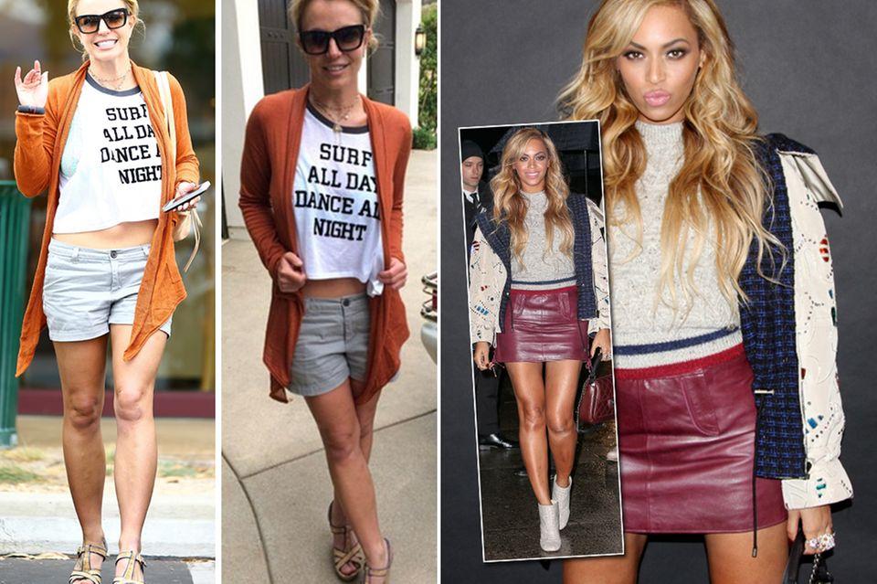 Mit dem richtigen Posing schummeln Britney Spears und Beyoncé ein paar Kilos weg. Der Vergleich zu den Paparazzi-Fotos zeigt: Beine überkreuzen und Arme anwinkeln à la Britney lässt einen schlanker wirken, Beyoncés fester Stand (mit leichten Hohlkreuz) zaubert dafür eine größere Thigh Gap.