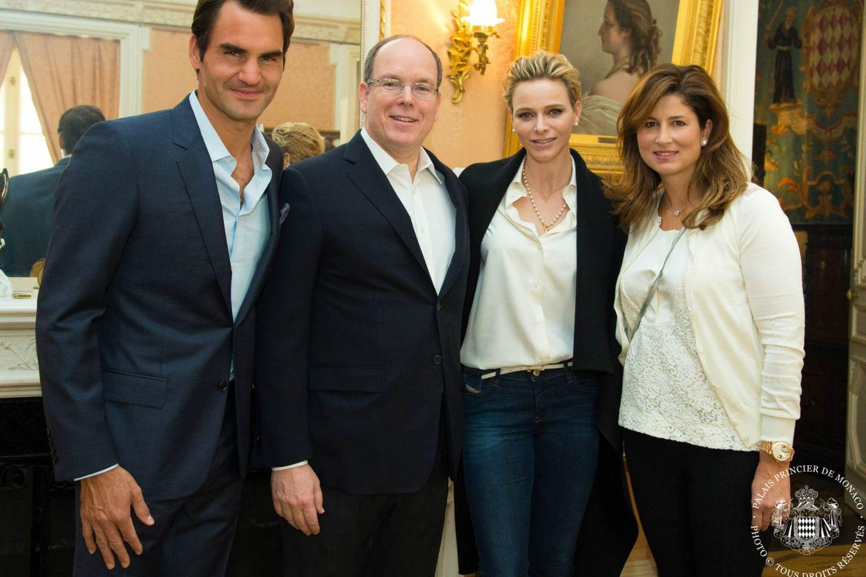Roger Federer, Fürst Albert, Fürstin Charlène, Miroslava Vavrinec