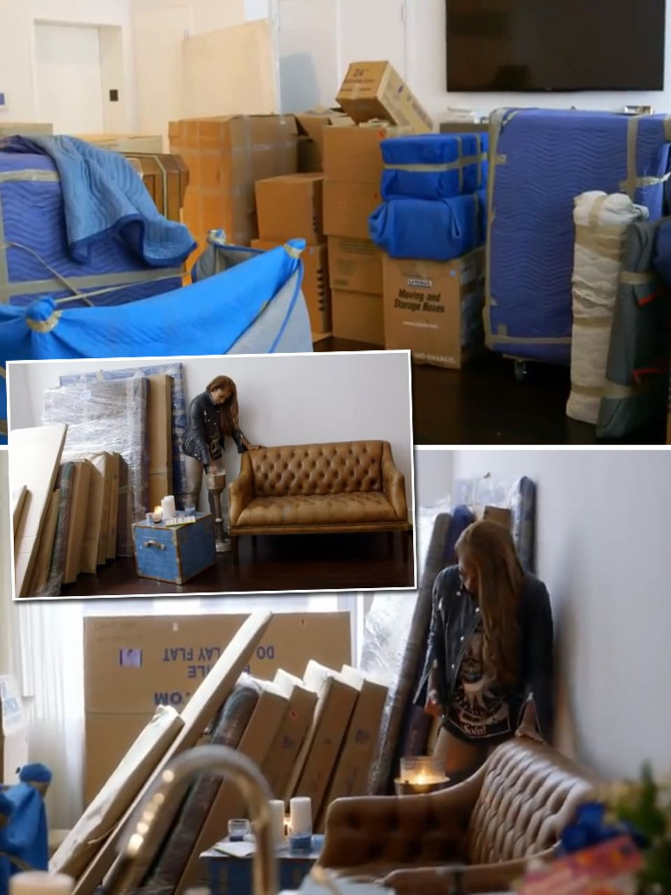 """In der Dokumentation des """"Oprah Winfrey Networks"""" bekommt man einen Überblick über die gewaltige Menge von Lindsay Lohans Besitztümern. Verpackt in Kartons stapeln sich hier Möbel, Kunstwerke und Kleider."""