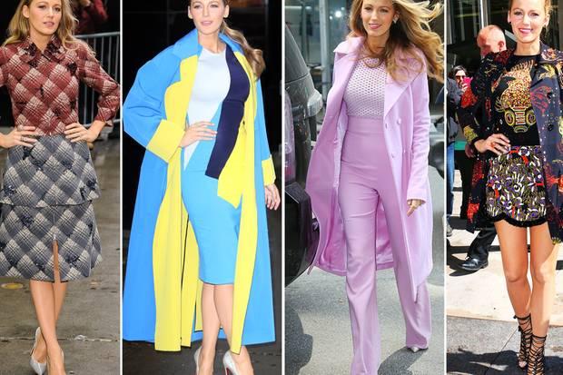 """""""Good Morning America"""" - Ryan Reynolds Ehefrau Blake Lively startet züchtig mit einem hochgeschlossenen Kostüm in den Tag und driftet dann durch einige Stilepochen. Auch ihre Frisuren und das Make-up wurden jeweils stilistisch angepasst."""