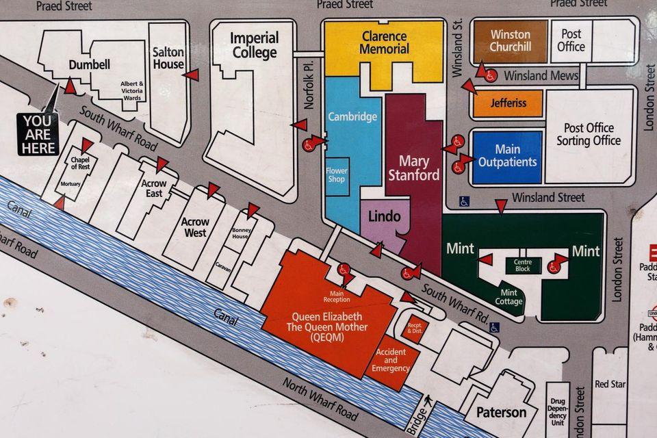 """Auf dieser Skizze - einem Plan des Krankenhauses, wie er im Krankenhaus """"St. Mary's"""" aushängt - sieht man die Stationen im Überblick und die Lage zur Straße. Der """"Lindo Wing"""" ist helllila markiert."""