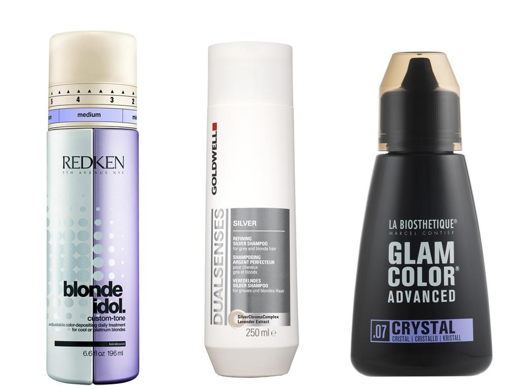 "Links: ""Blonde Idol Custom-Tone"" von Redken,196 ml, ca. 30 Euro; Mitte: ""Dualsenses Silver Shampoo"" von Goldwell, 250 ml, ca. 10 Euro; Rechts: ""Glam Color Advanced – 07 Crystal"", von La Biosthetique, 180 ml, ca. 30 Euro"