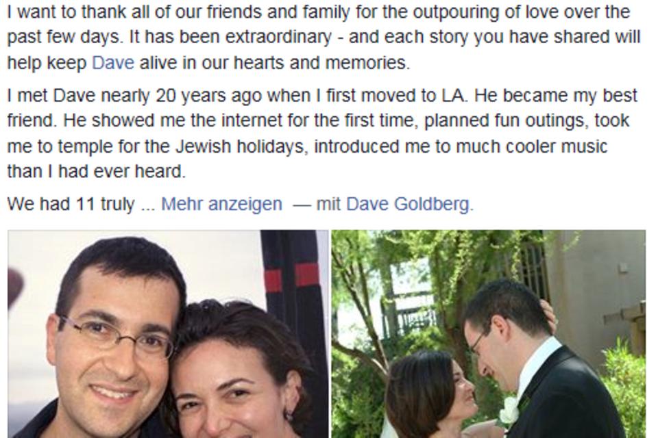 Sheryl Sandberg nimmt via Facebook von ihrem verstorbenen Ehemann Aschied