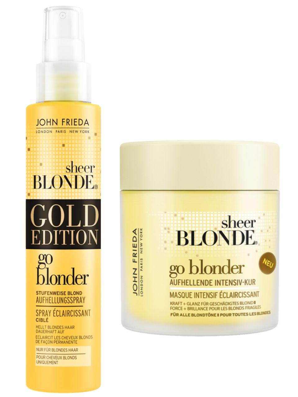"""Die aktuellen Favoriten von Blond-Profi Nicola Clarke: """"Gold Edition Sheer Blonde Go Blonder Stufenweise Blond Aufhellungsspray"""", 100 ml, 7 Euro (limitiert) und """"Sheer Blonde Go Blonder Aufhellende Intensiv-Kur"""", 150 ml, ca. 7 Euro. Beides von John Frieda"""