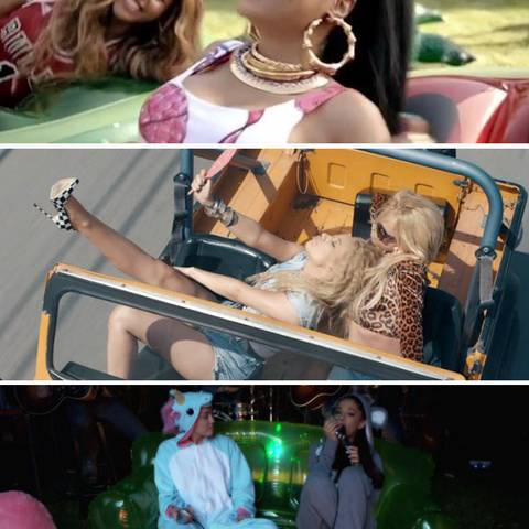 "Beyoncé + Nicki Minaj in ""Feeling Myself"", Iggy Azalea + Britney Spears in ""Pretty Girls"", Miley Cyrus' + Ariana Grandes ""Backyrad Session"""