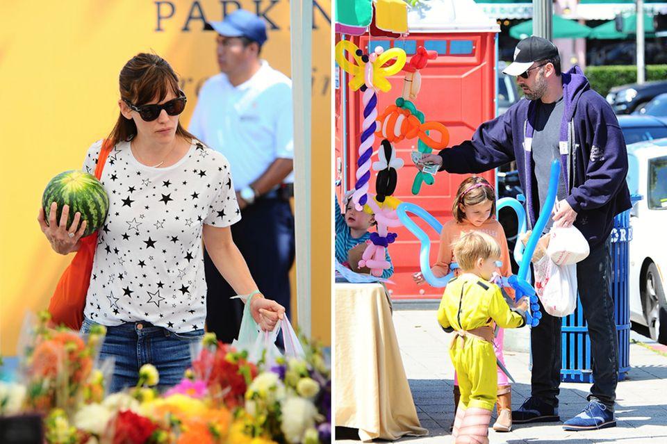 Auf dem Food-Market trennt sich die Familie Affleck-Garner direkt voneinander. Während Jennifer Obst und Gemüse einkauft, wickelt Ben die Kids um seinen Finger, indem er sie mit witzigen Ballons beglückt.