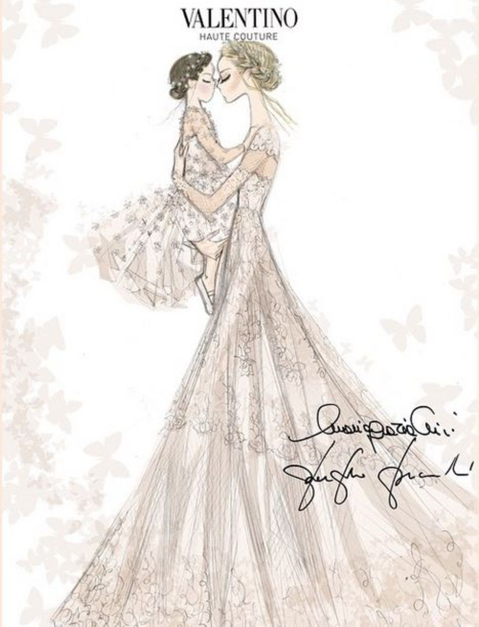 Der Entwurf des Brautkleides für Frida Giannini und ihre kleine Tochter Greta wurde vom Valentino-Designduo Maria Grazia Chiuri und Pierpaolo Piccioli angefertigt. Die beiden Modedesigner waren auch als Gäste der Hochzeit geladen.