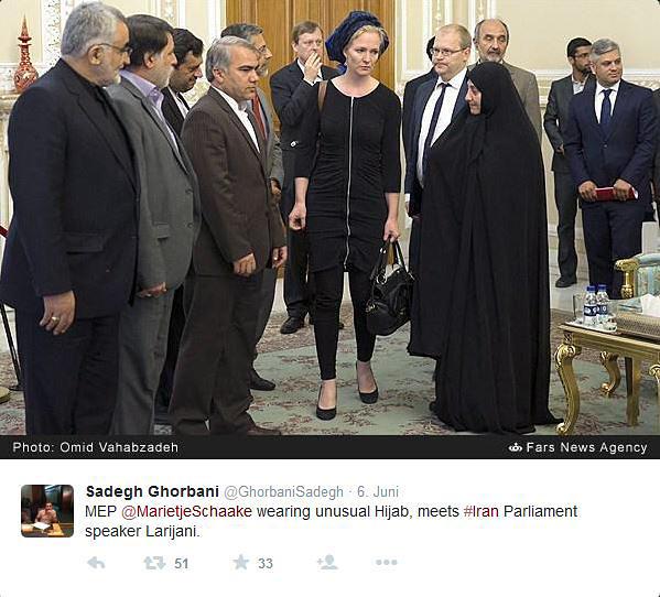 Marietje Schaake beim Besuch des iranischen Parlaments
