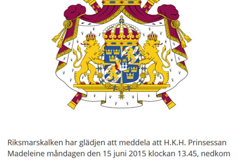 Das schwedische Königshaus gibt die Geburt von Prinzessin Madeleines Baby bekannt.