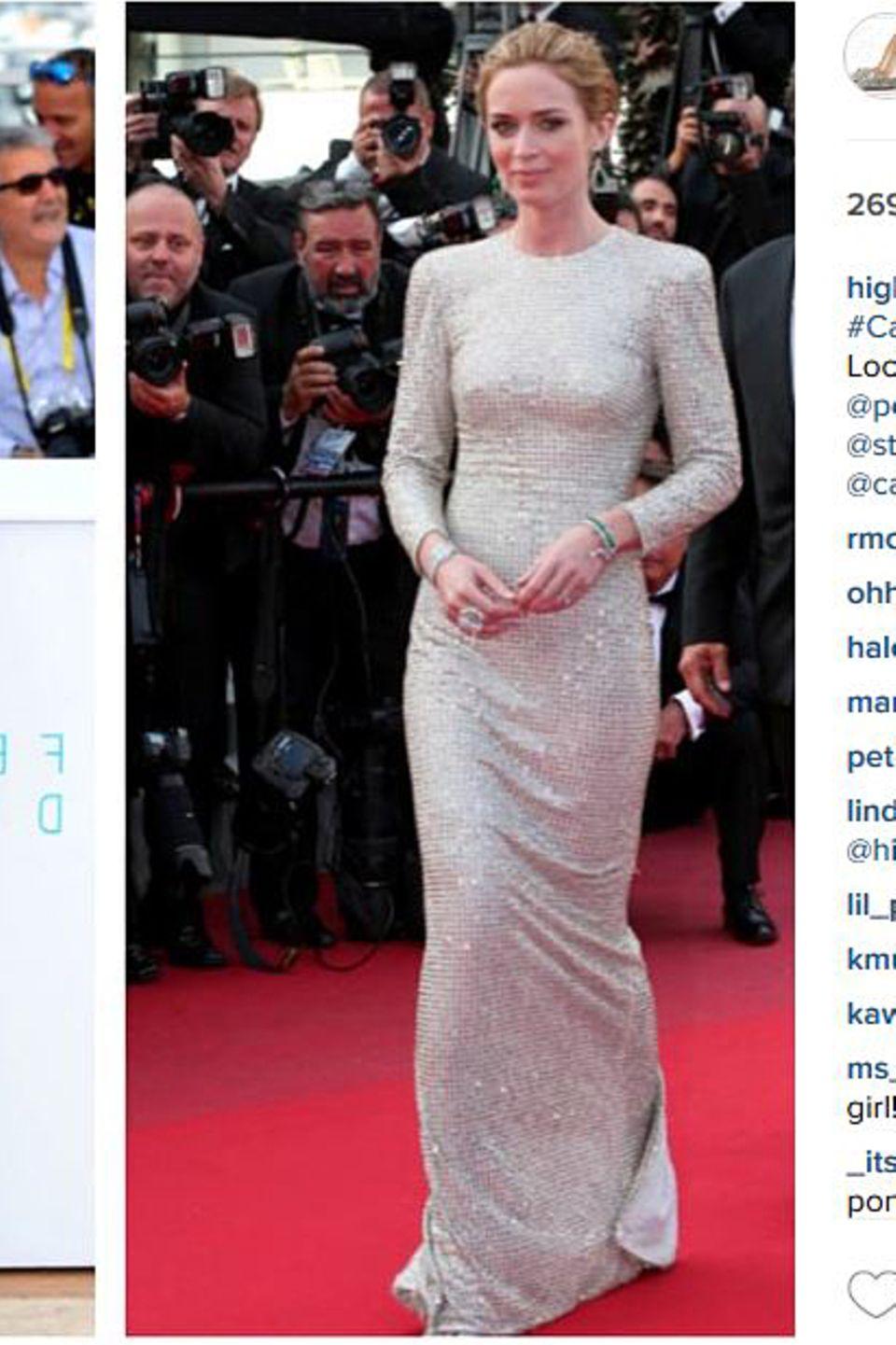 Auch Emily Blunt zählt zum Kundenstamm von Jessica Paster. Auf ihrem Instagramprofil zeigt die Stylistin stolz zwei Looks der Schauspielerin - und führt detailliert alle Marken auf, deren Entwürfe zu sehen sind.