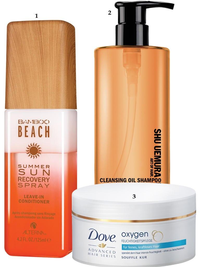 """1. """"Bamboo Beach – Summer Sun Recovery Spray"""" von Alterna, 125 ml, ca. 25 Euro, limitiert, exklusiv bei Douglas; 2. """"Cleansing Oil Shampoo"""" von Shu Uemura, 400 ml, ca. 44 Euro: 3. """"Oxygen Feuchtigkeitspflege Soufflé Kur"""" von Dove, 200 ml, ca. 7 Euro"""
