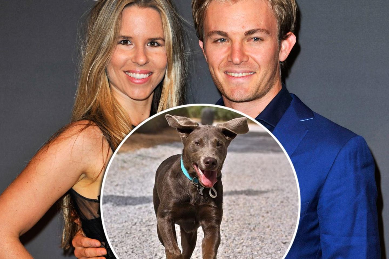 Vivian Sibold, Nico Rosberg mit Welpe Bailey