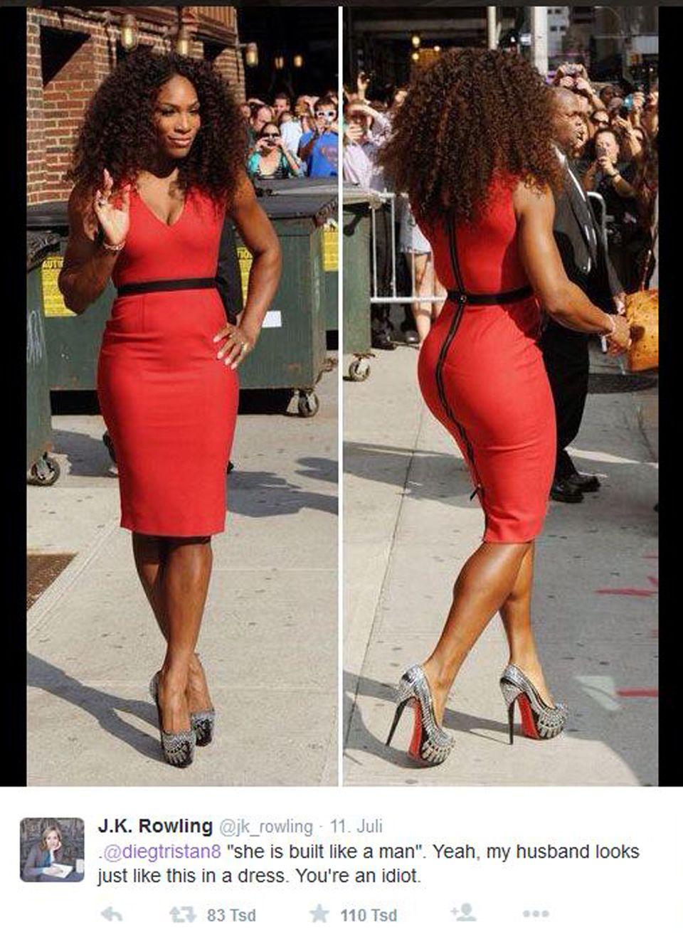 """J.K. Rowling kommentierte das Foto von Tennisstar Serena Williams und adressierte ihren Konter folgendermaßen an den Twitter-Troll: @diegtristan8 """"she is built like a man"""". Yeah, my husband looks just like this in a dress. You're an idiot. (auf Deutsch: """"Sie ist gebaut wie ein Mann"""". Klar, mein Ehemann sieht genauso aus in einem Kleid. Sie sind ein Idiot."""")."""