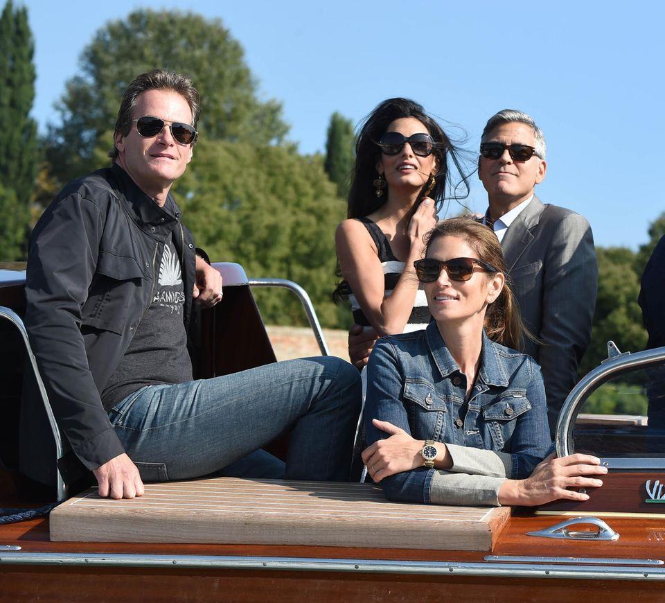 Amal + George Clooney mit Rande Gerber und Cindy Crawford.