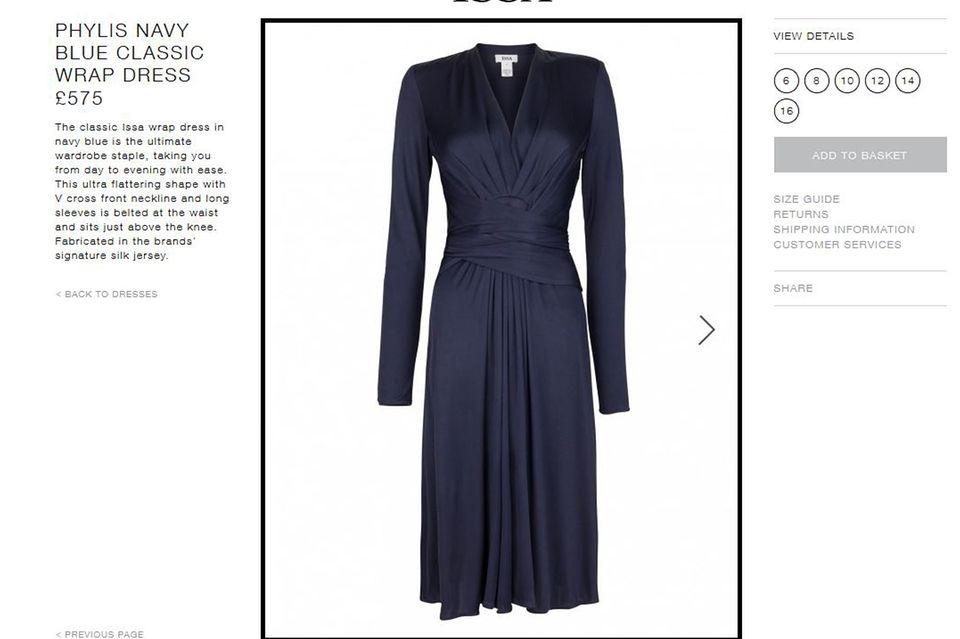 """Catherines favorisiertes Modell """"Phylis"""" ist für umgerechnet knapp 850 Euro zu haben. Aus dunkelblauem Seidenjersey gefertigt, ist es gleichzeitig elegant und angenehm zu tragen."""