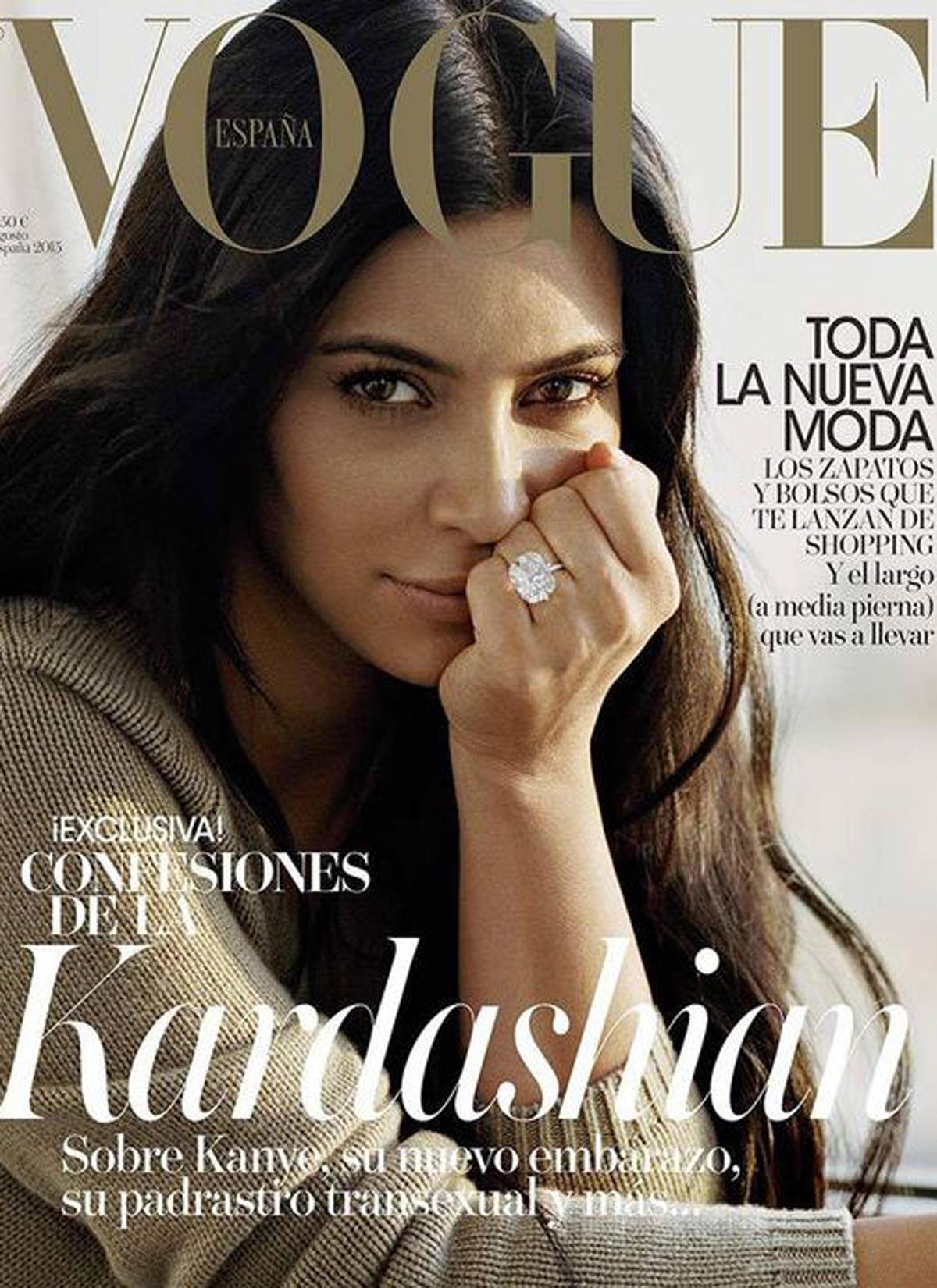 """Kim Kardashian auf dem Cover der spanischen """"Vogue""""."""