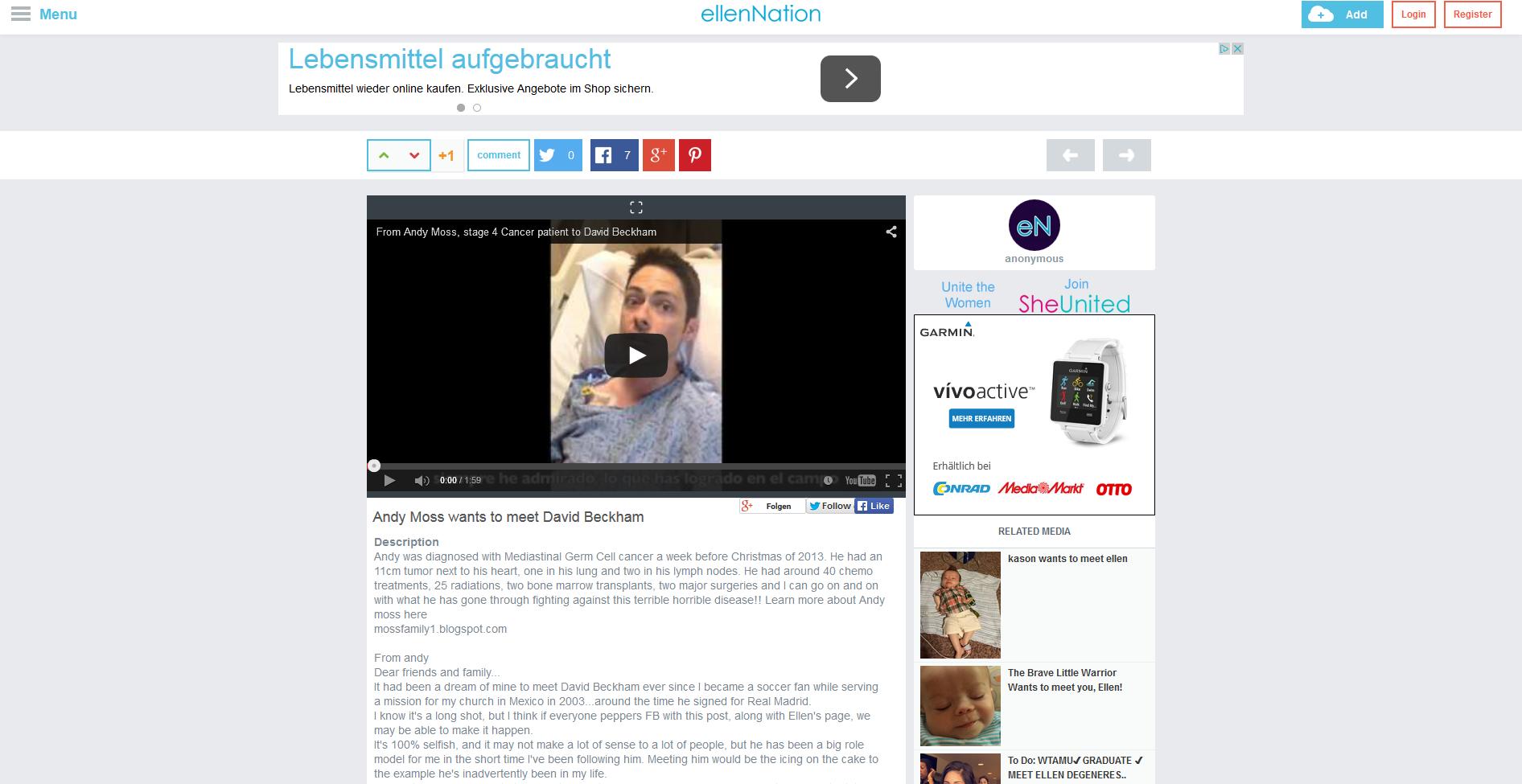 Der krebskranke Andy Moss äußert auf Ellen DeGeneres' Internetseite seinen letzten Wunsch.