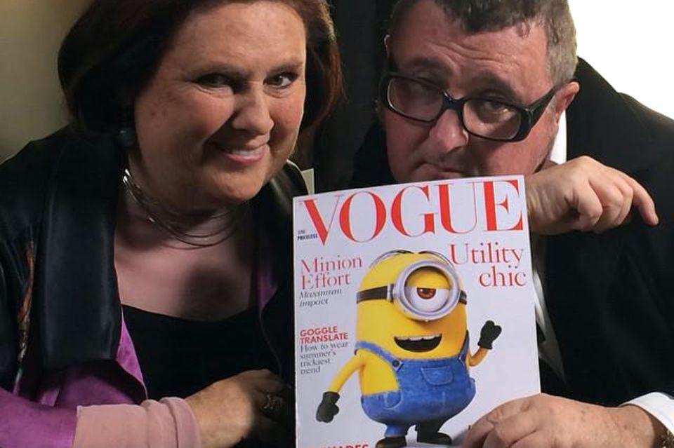 """Modeexpertin Suzy Menkes twitterte den """"Vogue""""-Titel. Kommentar: """"Alber Elbaz von Lanvin gibt zu, dass die Minions die Modemacht hinter seiner ganzen Karriere sind"""""""