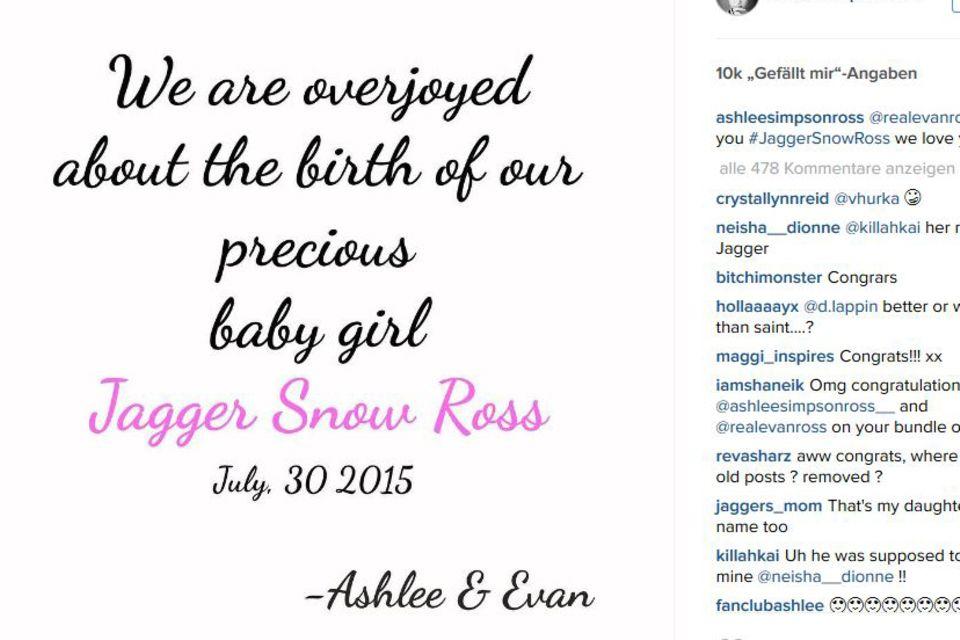 """""""Wir sind überglücklich über die Geburt unserer Tochter Jagger Snow Ross"""" - Mit einem Instagram-Visual verkündet Ashlee Simpson voller Stolz den Namen ihrer ersten Tochter."""
