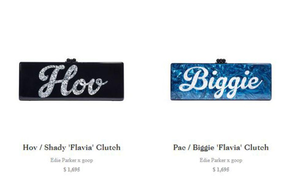 """Nicht ganz billig, die Täschchen: Für umgerechnet knapp 1550 Euro kann man eine der """"Flavia Clutches"""" von Gwyneth Paltrow und Edie Parker kaufen. Jede Clutch ist eine Hommage an zwei Stars des Oldschool Hip-Hop."""