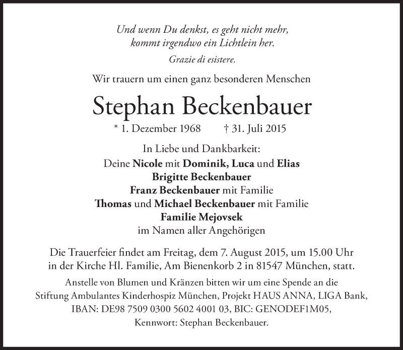 Franz Beckenbauer: Abschied von seinem Sohn
